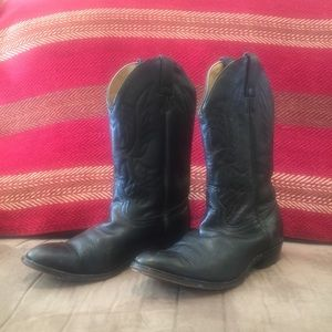 Justin Youth Black Cowboy Boots Size 5.5